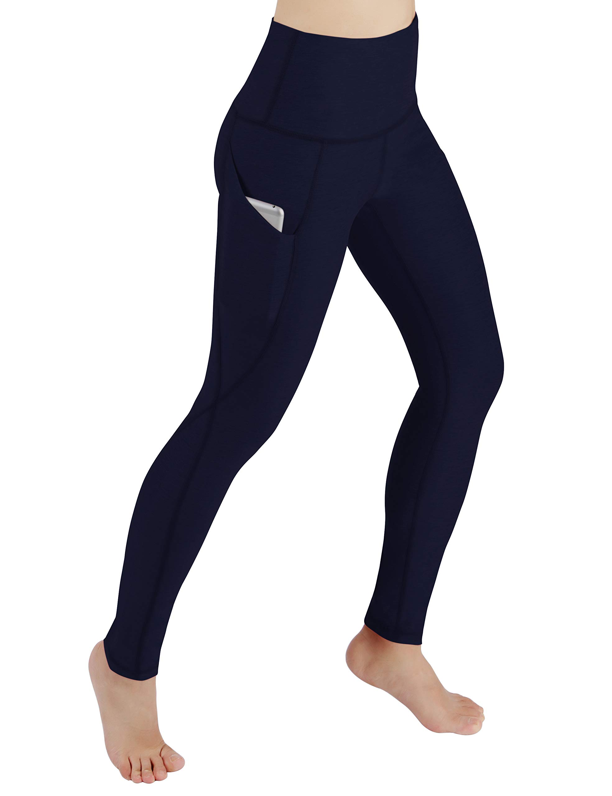 ODODOS Women's High Waist Yoga Pants with Pockets,Tummy Control,Workout Pants Running 4 Way Stretch Yoga Leggings with Pockets,Navy,Large by ODODOS