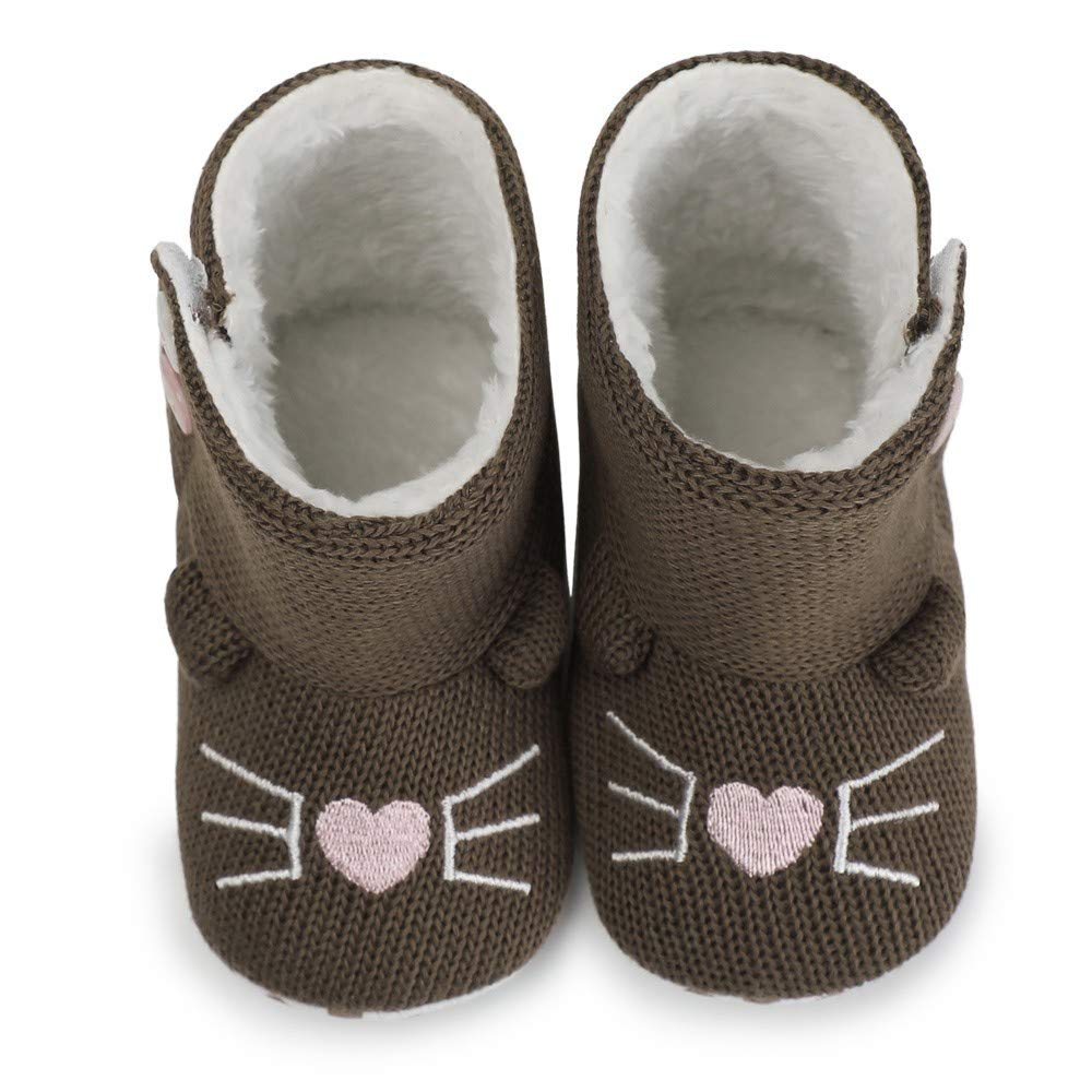 Newborn Baby Boys Girls Cute Knitted Winter Warm Boots Premium Soft Slippers Fur Bootie Shoes