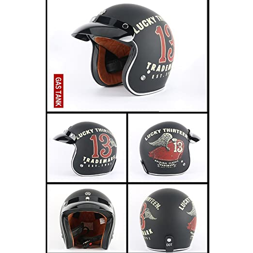 Amazon.com : Tewin Helmet Casco Capacete Vintage Motocross Helmets Moto Cafe Racer Motorcycle Scooter 3/4 Retro Open Face Motocicleta Cacapete : Sports & ...