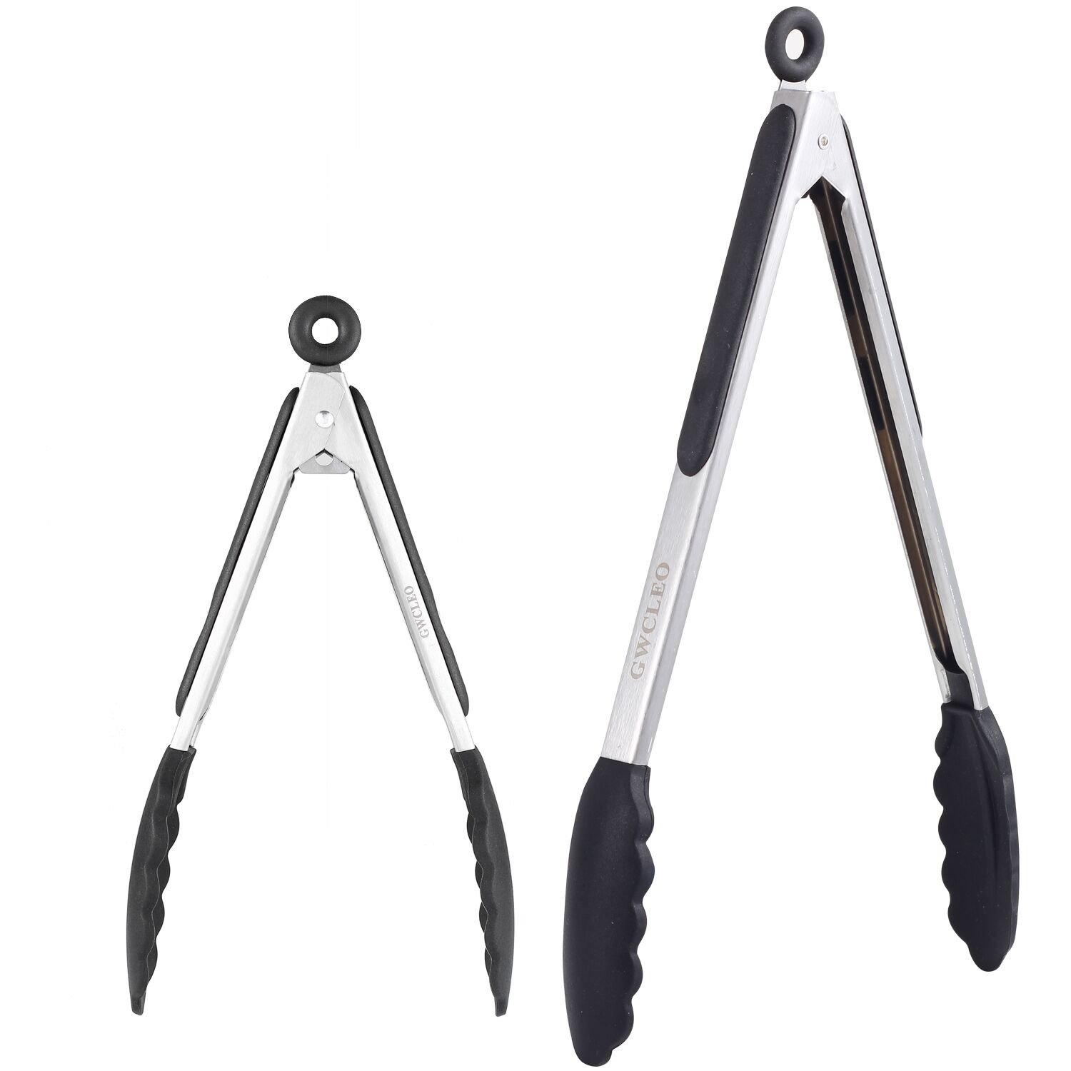 Cooking Tongs,GWCLEO Kitchen Tongs with Stainless Steel,Non-Scratch Silicone Tips,Non-Slip and Good-Grips Silicone Handle,Food Tongs for Barbecue,Picnic,Serving,Buffet etc (Black,9 and 12 inches)