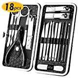 18 Pcs Nail Clippers Set- MEPOTI Manicure Pedicure Set Stainless Steel Beauty Care Tool Manicure Kit, Professional Grooming Kit, Hygiene Kit Nail Tools with Portable Luxurious Travel Case(Black)