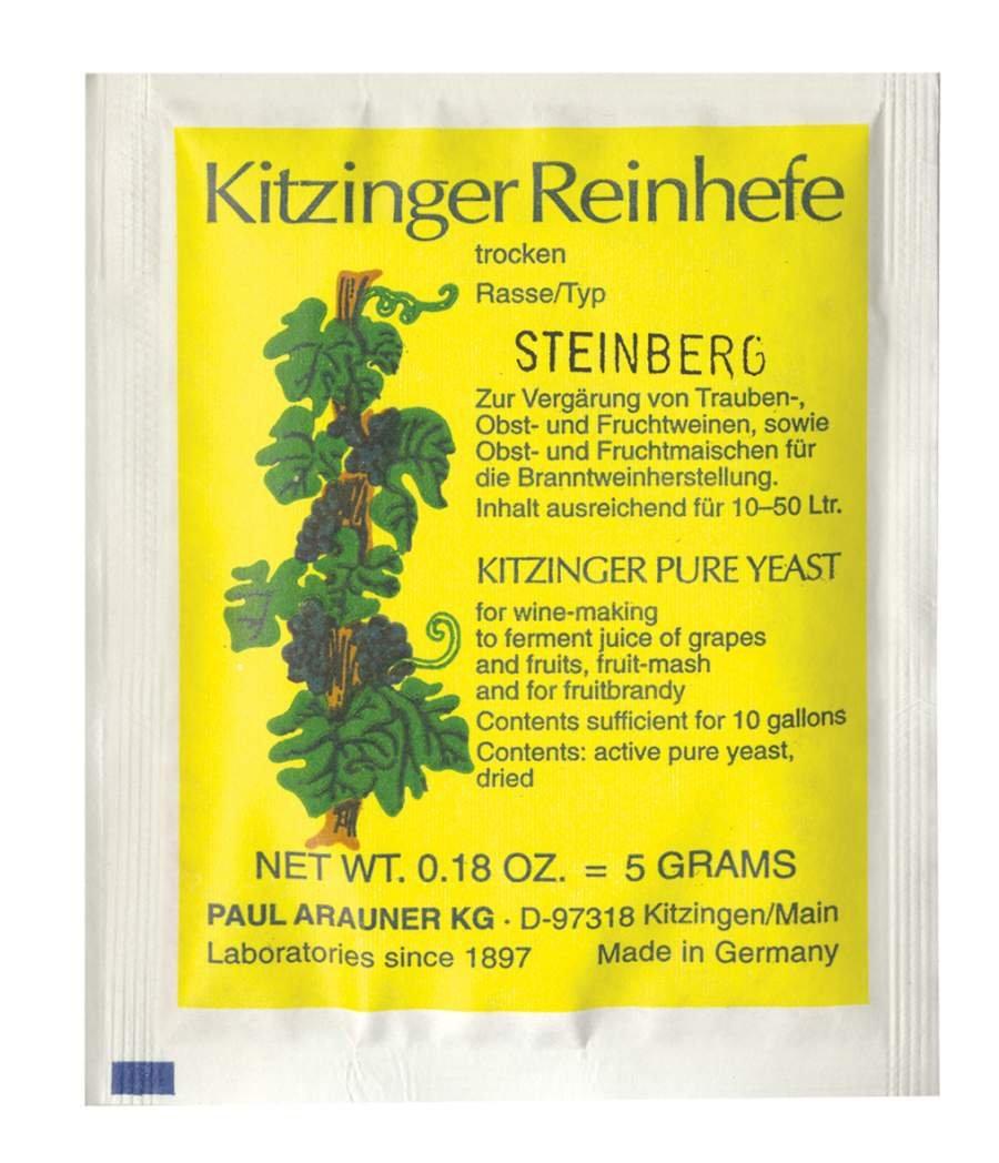 WEINHEFE STEINBERG Arauner Kitzinger – Trocken Reinhefe für 50L   Naturhefe   Obstwein hefe   Hefenährsalz   Alkoholhefe   Methefe   Apfelweinhefe AlcoFermBrew