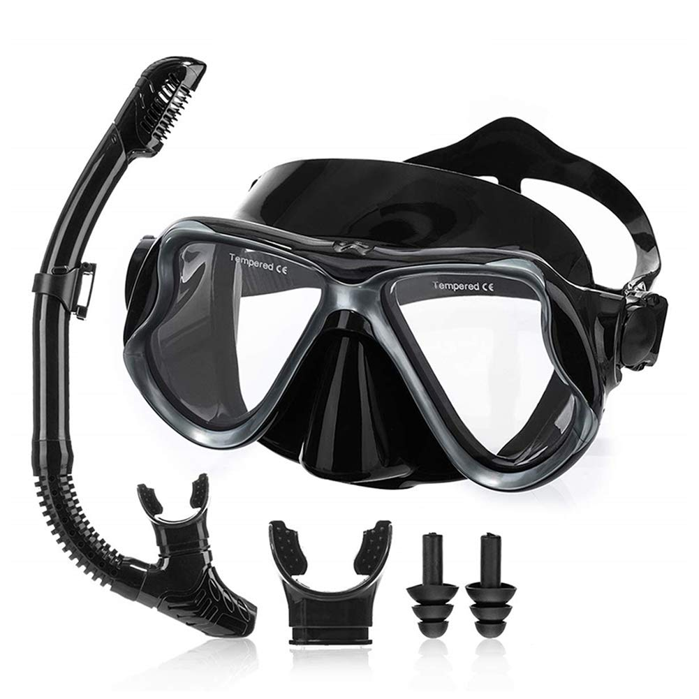 DIVINGWANG Diving Mask,Snorkel Mask with 180° Panoramic Viewing,Easy Breathing and Professional Snorkeling Gear,Diving Mask with Splash Guard Snorkel,Black by DIVINGWANG