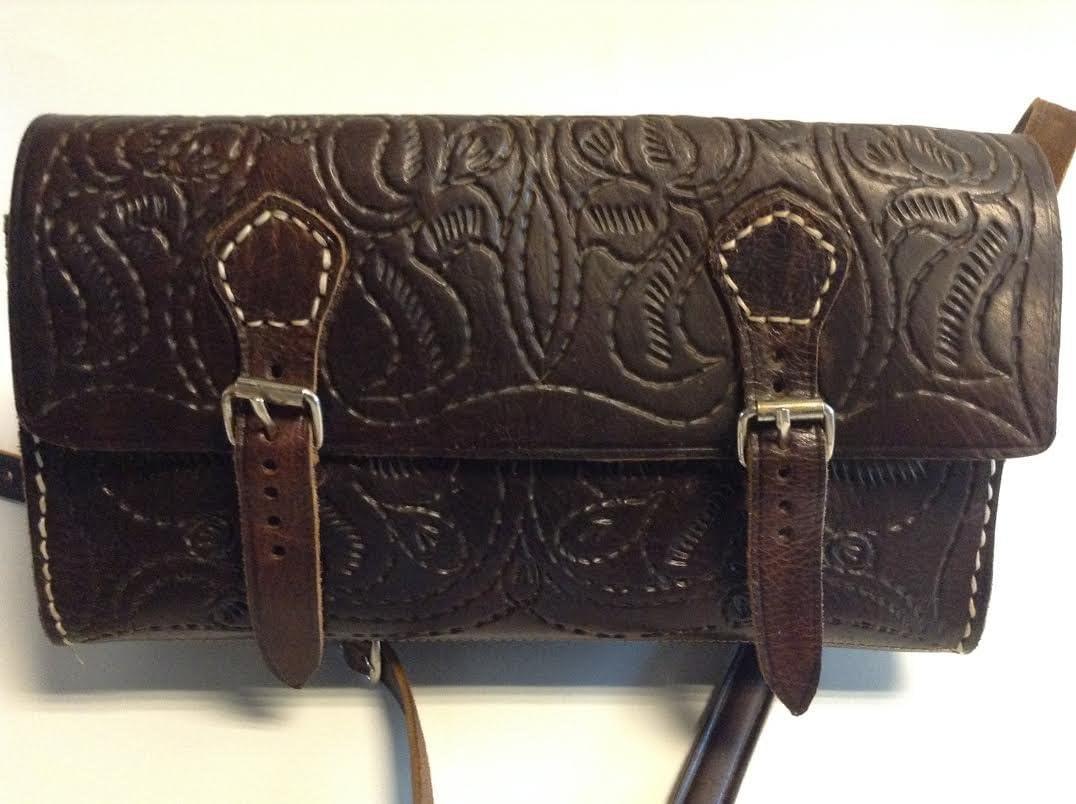 100/% Leather Embossed Cross Body Bags Handbag Brown