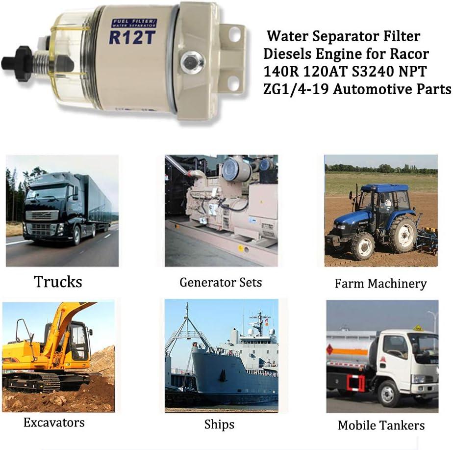 filtre combo complet pour moteur essence et diesel 19 pi/èces automobiles R12T Filtre /à carburant//s/éparateur deau pour bateau 120AT NPT ZG1//4