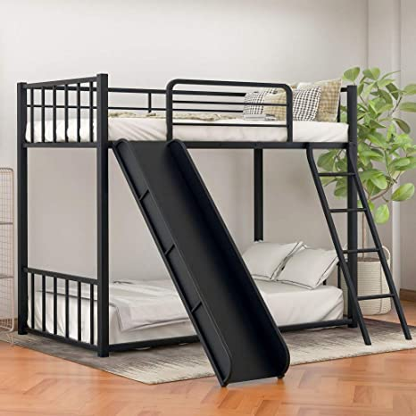Amazon Com Harper Bright Designs Twin Bunk Beds For Kids Metal Bunk Bed With Slide No Box Spring Required Black Low Bunk Beds With Slide Furniture Decor