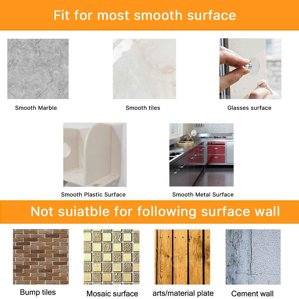 30 Packs Round Large Suction Cup Clear Plastic Sucker Pads Without Hooks 45 mm for Bathroom Wall Door Glass Window