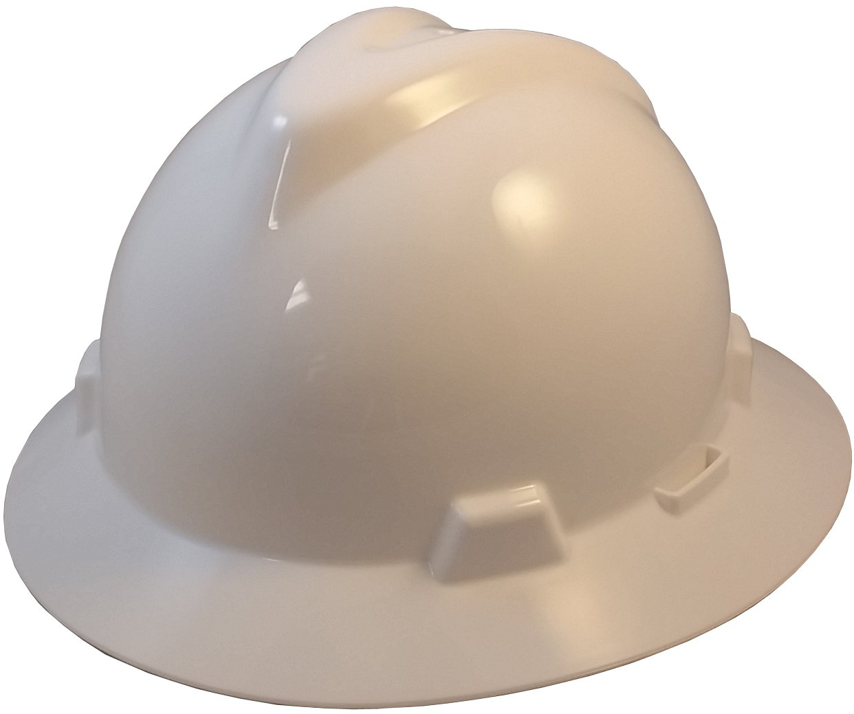 MSA V-Gard Full Brim Hard Hats w/ FasTrac III Suspensions with Handy Tote Bag - White