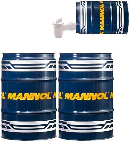 MANNOL - Barril de Garaje + vertedor, Aceite para Cadenas de Motosierra, 2 x 60 litros: Amazon.es: Coche y moto