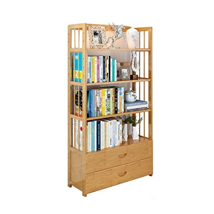 Simple Drawer BookshelfStudent Bookcase Solid Wood Storage Rack Multifunctional Floor Standing Cabinet
