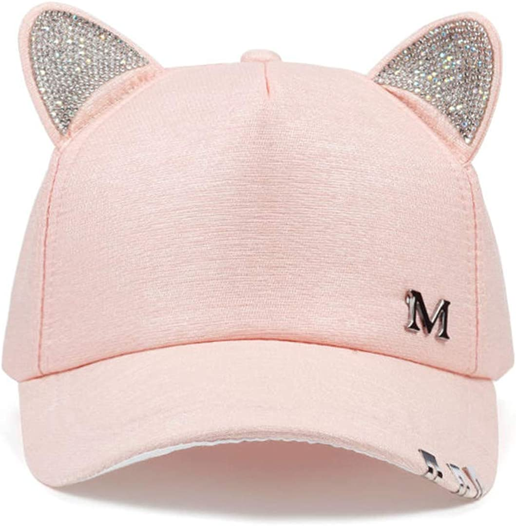 Black White Pink Hat Cat Ears Cat Baseball Cap with Rings and Lace Cute Girl Hat