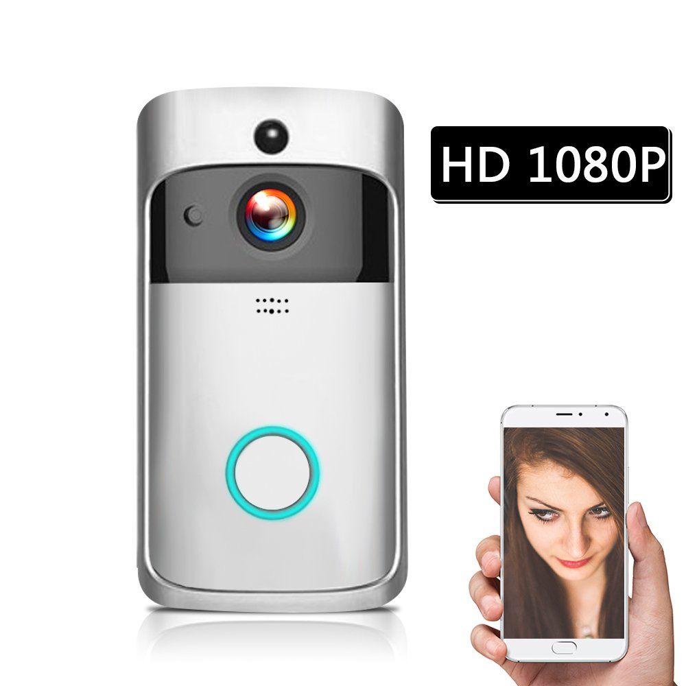 OWSOO WiFi Smart Wireless Security DoorBell Smart HD 1080P Visual Intercom Recording Video Door Phone Remote Home Monitoring Night Vision