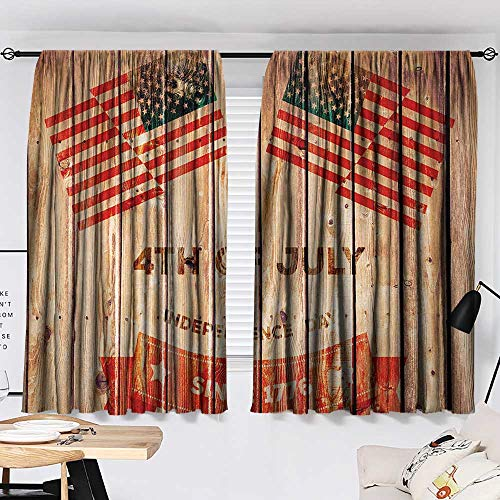 Jinguizi 4th of July Darkening/Blackout Wooden Planks Background with United States Flag Design and Colorful Banner Microfiber Darkening Curtains Multicolor W55 x L39 by Jinguizi (Image #1)