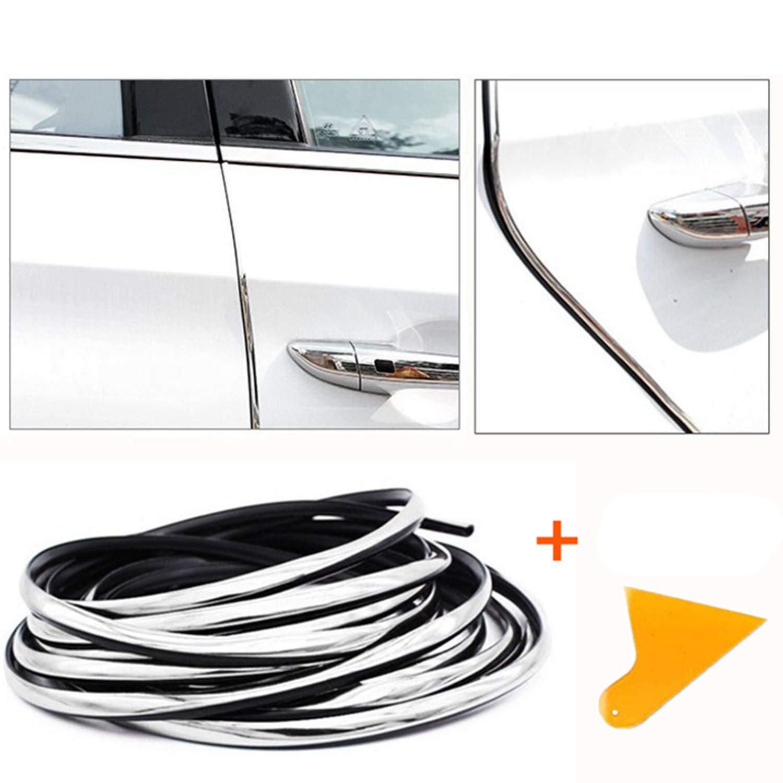 32Ft verre argent//carbone noir Porti/ère de Voiture Protecteur Caoutchouc Edge Bande de Garde Voitures Mioke 10M Mode Argent