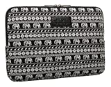 KAYOND Black Elephant Patterns Canvas Fabric 14 Inch Laptop /Sleeve Case Dell / Hp /Lenovo/sony/ Toshiba / Ausa / Acer /Samsung /Haier Ultrabook Bag Cover (14.1, Black)