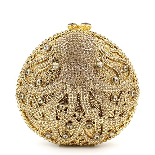 Chirrupy ChiefOctopus Crystal Clutches For Women Rhinestone Clutch Evening Bag (Gold)