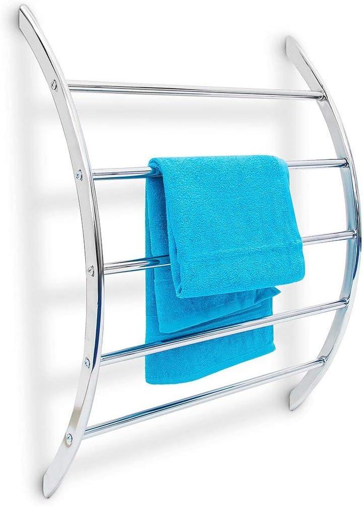 Relaxdays Wand Handtuchhalter mit 5 Stangen HxBxT 70 x 56 5 x 15 5 cm Badetuchhalter aus verchromtem Stahl mit 5 Handtuchstangen als Ablage für
