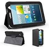Samsung Galaxy Tab 2 7.0'' Inch P3100 P3110 Black Pu Leather Case Cover Book Wallet Flip Stand Plus Screen Protector & Screen Polishing Cloth