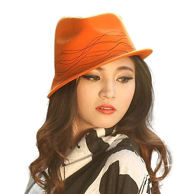 June s Young Sombrero de Fieltro Lana para Mujer Sombreros de Vestir para  Señora Gorros Fedora Boina 80a277fd681