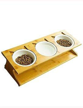 Wysm Cuenco de Gato de cerámica Cuenco de bambú Cuenco de Perro Cuenco Doble Cuenco automático