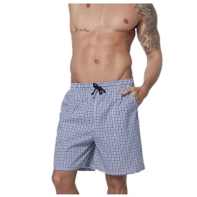 ANJUNIE Men's Simple Plaid Pajamas Shorts Home Pants Cotton Elastic Waist Pants: Clothing