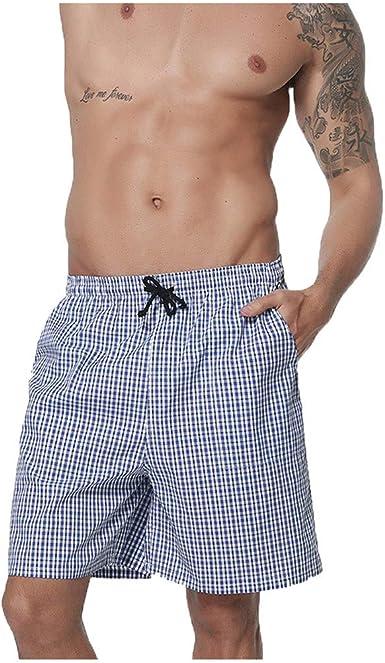 Pantalon Pijama Corto Hombre, Pantalones Corto Verano Cuadros Pantalones Casa Pantalones De Estar por Casa Elástico Noche Ropa Pijamas PJ Inferiores Yvelands: Amazon.es: Ropa y accesorios