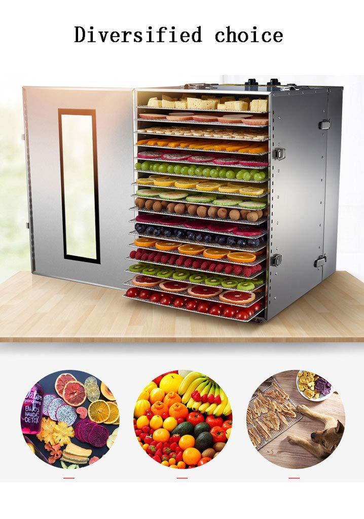 Secador de frutas, temperatura eléctrica ajustable 40 a 90 ° C Secador para frutas frescas y deshidratadas Verduras 16 Bandejas 15 Horas Sincronización ...