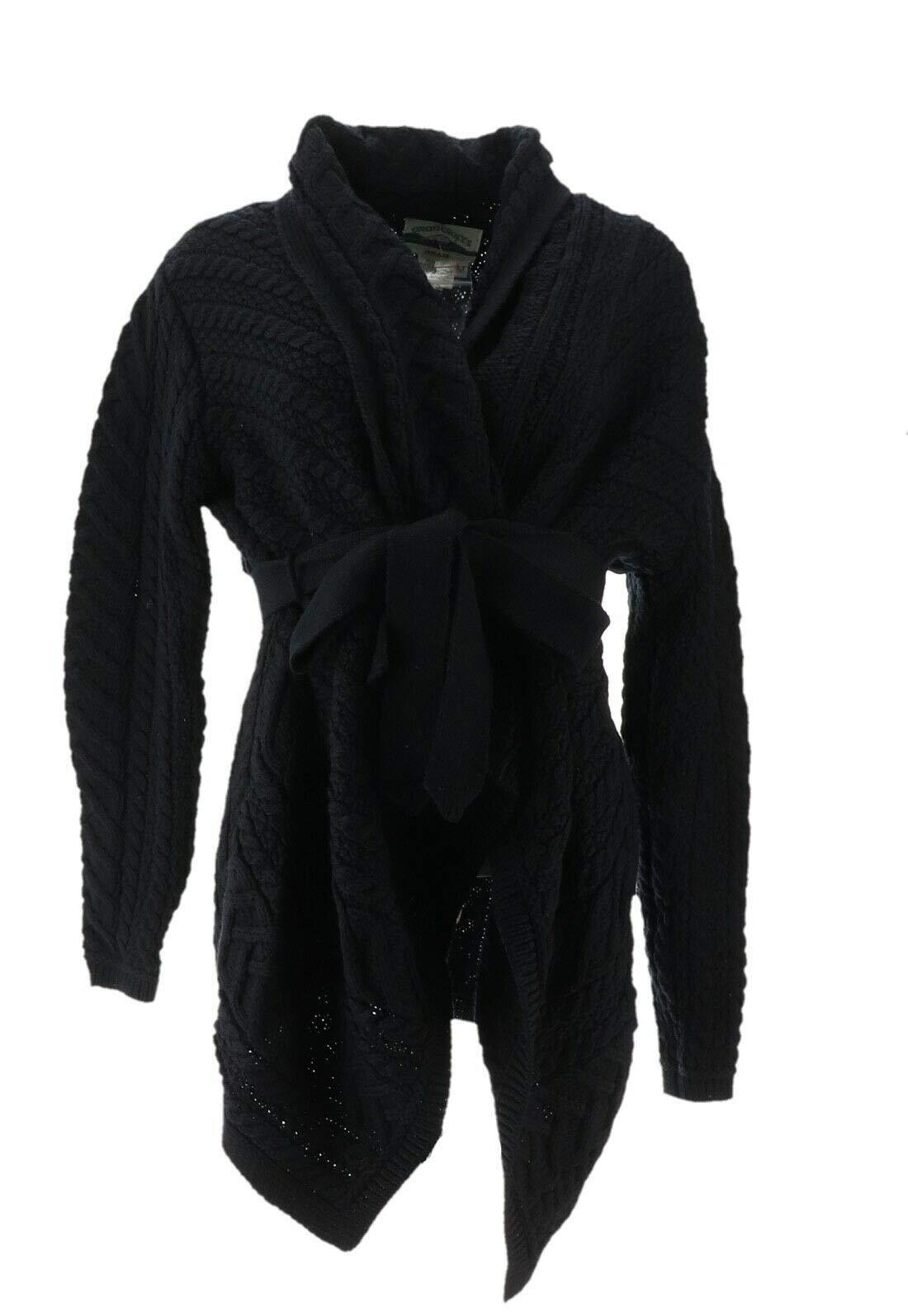 Aran Craft Merino Wool Cardigan Waterfall Neck Belt Black XL New A290440