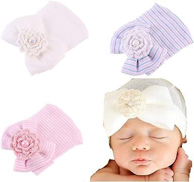 DRESHOW Newborn Hospital Hat Infant Baby Hat Cap with Big Bow Soft Cute Knot Nursery Beanie
