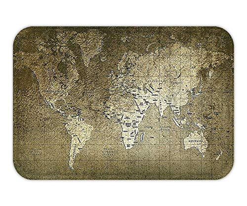 Antique Decor Set Old World Map with Great Texture Nostalgic Ancient Plan AtlaTrace of Life World Print Bathroom AccessorieKhaki Beige from Hylionee6.