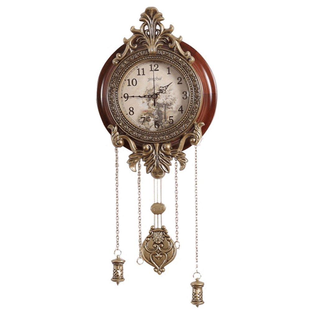 Juli Wanduhr 9.6 Zoll Pendel Wanduhr Stumm Uhr mit Anhänger Für Wohnzimmer Europäischen Klassischen Nicht Tickende Uhr Holzrahmen Metall Dekor Glasabdeckung Arabische Ziffern Uhr