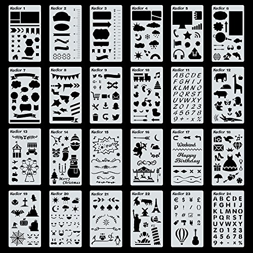 Large Product Image of KEDIOR Bullet Journal Stencils Plastic Planner Supplies for Journaling,Notebook,Diary,Scrapbook,24PCS DIY Drawing Stencil Template 4x7 inch