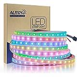 ALITOVE LEDイルミネーション WS2812B アドレス可能 LEDテープライト5050 RGB SMD 5 m 300個ピクセル夢色 防水IP67ホワイトPCB DC 5V
