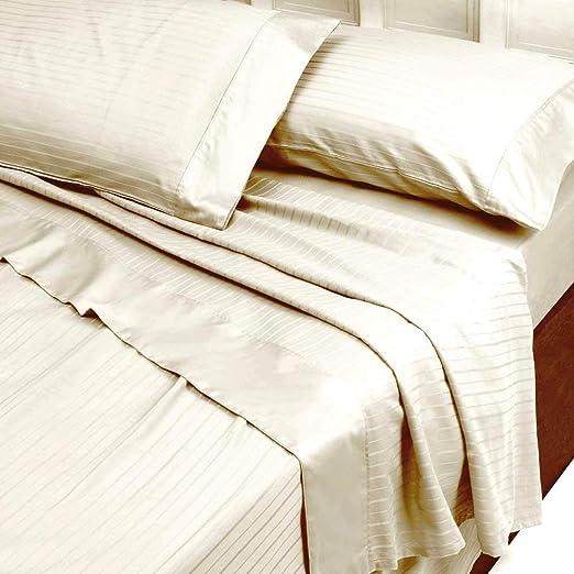 Completo sábanas matrimonio (satén de algodón puro Rigato Color Marfil Crema Riga 3 cm (sábana encimera 250 x 290, sábana bajera ajustable 180 x 200, fundas de almohada 50 x 80): Amazon.es: Hogar