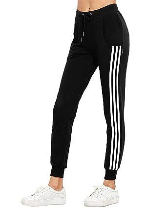 Pantalon Sport Femme Mouvement Fitness Training Pantalon Jogging Fashion  Elégante Slim Fit Fille Vêtements Taille Élastique avec Cordon De Serrage  Rayures ... 9c936f3f8d9a