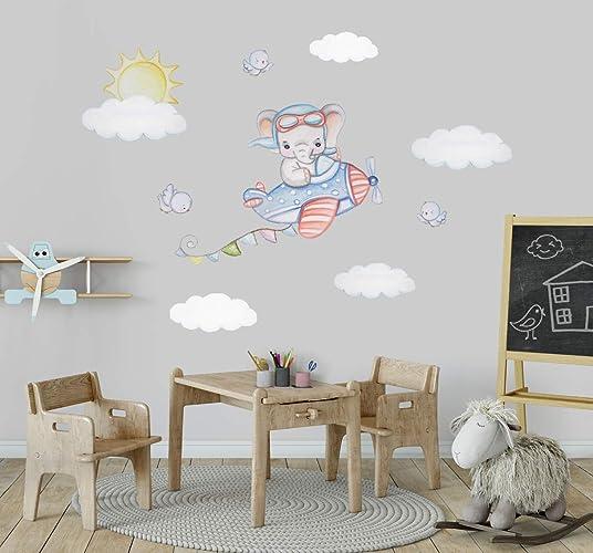 Flugzeug Wandtattoo Kinderzimmer Junge Elefant Aufkleber ...