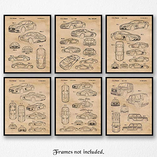 Original Mercedes Mclaren-GT-SLS-G Wagon Patent Art Poster Prints- Set of 6 (Six Photos) 8x10 Unframed- Great Wall Art Decor Gift for Home, Office, Shop, Garage, Shop, Man Cave, Student, -