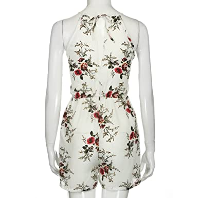 3d33c7114bac Amazon.com  Maoyou Women Floral Print Boho Playsuit Bodycon Beach Dress  Jumpsuit Romper Trouser  Clothing