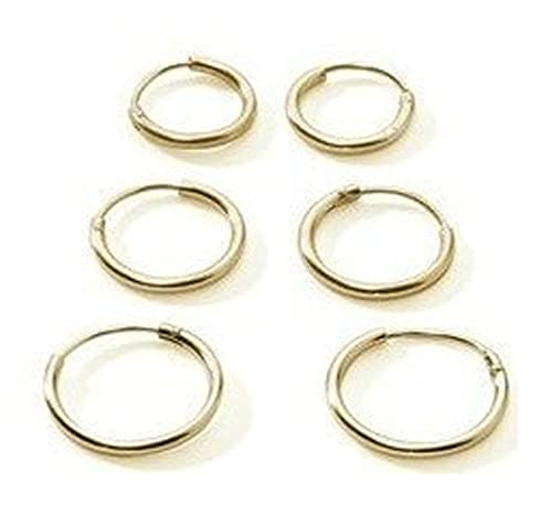 3 Paar Premium Gold überzogenes Sterling-Silber 925 klein Ohrringe Kreolen für Knorpel/Nase/Lippen, ...