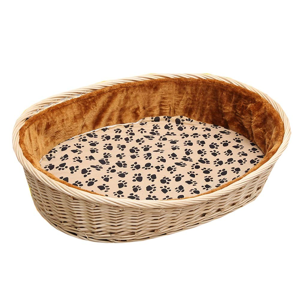 C 63X42X13X22CM C 63X42X13X22CM Nesting Dog Cave Bed Rattan Dog Basket Dog Pet Nest Padded Bed Bolster Bed for Indoor & Outdoor Use with Cotton and Bamboo Mattress (color   C, Size   63X42X13X22CM)