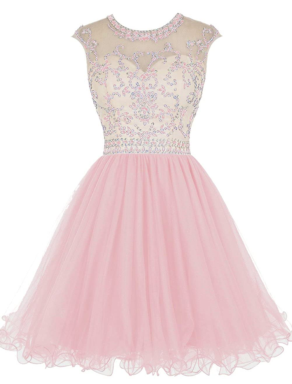 Pink Caissen Women's Short Beaded Sheer Crew Neck Rhinestones Tulle Prom Dress Open Back with Zipper Party Wear Ball Gown
