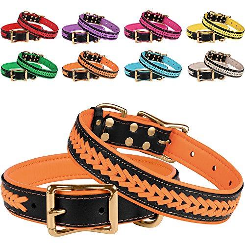 (BronzeDog Genuine Leather Dog Collar Braided Soft Pet Collars for Small Medium Large Dogs Puppy Black Pink Blue Red Purple Orange Green Beige (Neck Size 16
