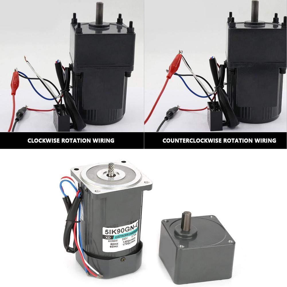 AC 220V 90W Untersetzungsgetriebemotor 5IK90GN-C Untersetzungsgetriebemotor CW//CCW Motor mit Kondensator 120K