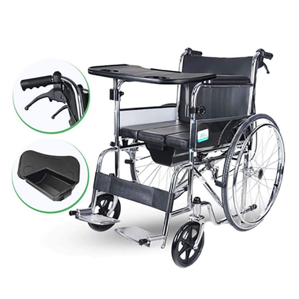 【50%OFF】 HSBAIS ドライブメディカルトランスポート車いす軽量折りたたみ式、丈夫で丈夫なスチールパイプを持ち上げたレッグレッグは Seat、トイレットボウル付き,19
