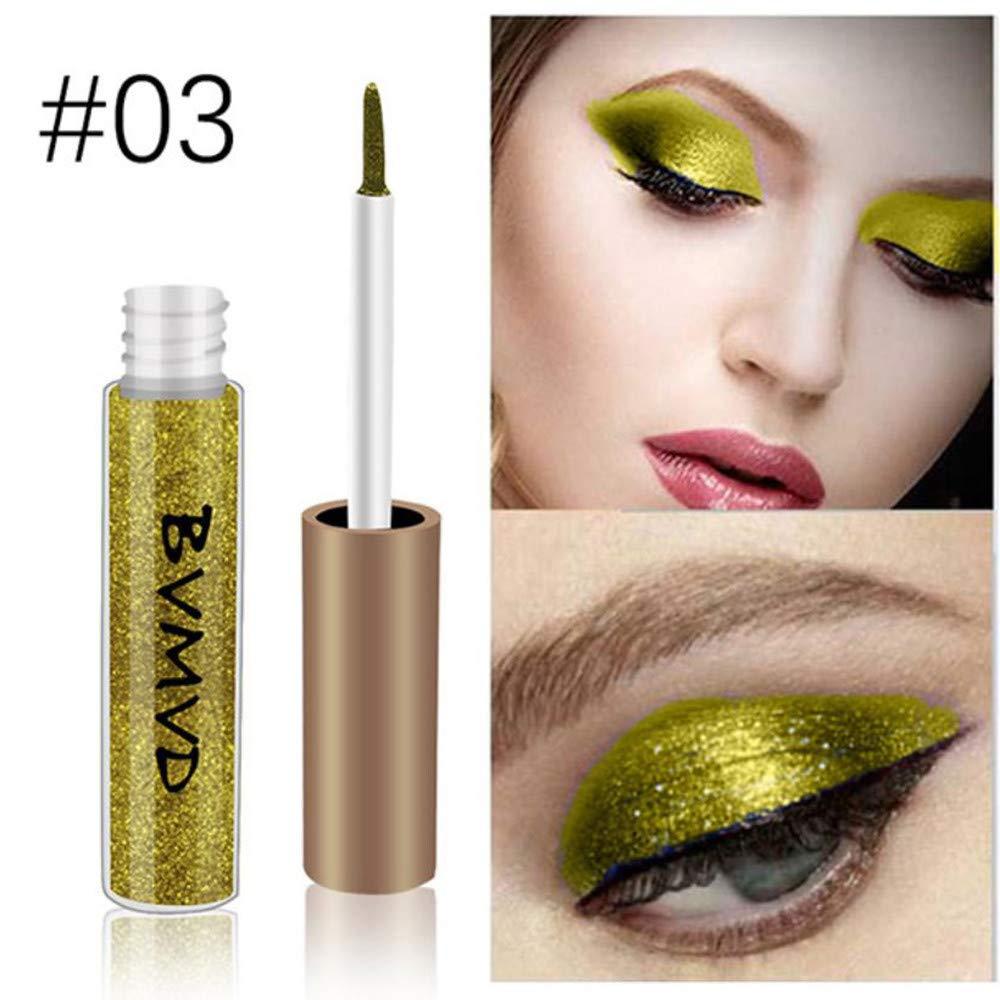Metallic Smoky Eyeshadow Waterproof Glitter Liquid Eyeliner Pencils White Gold Color Shining Shimmer 03 by WGRTT