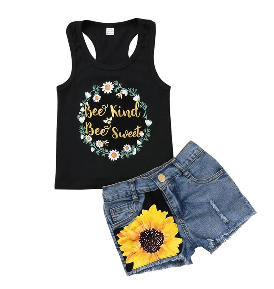 2Pc Baby Girl Sunflower Clothes Outfits Kids T-Shirt Tops+Denim Jeans Pants Shorts Set