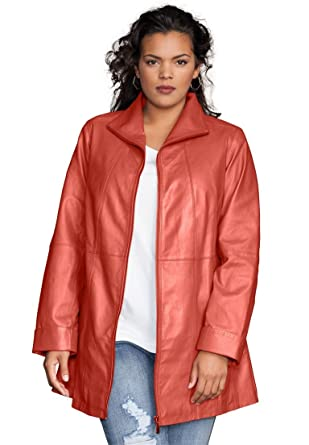 Women's plus size leather sleeve coat