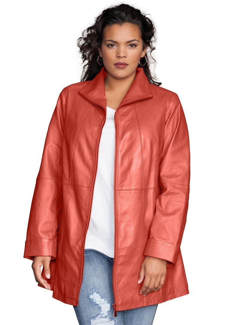 Roamans Women's Plus Size Leather A-Line Jacket Pumpkin,22 W by Roamans