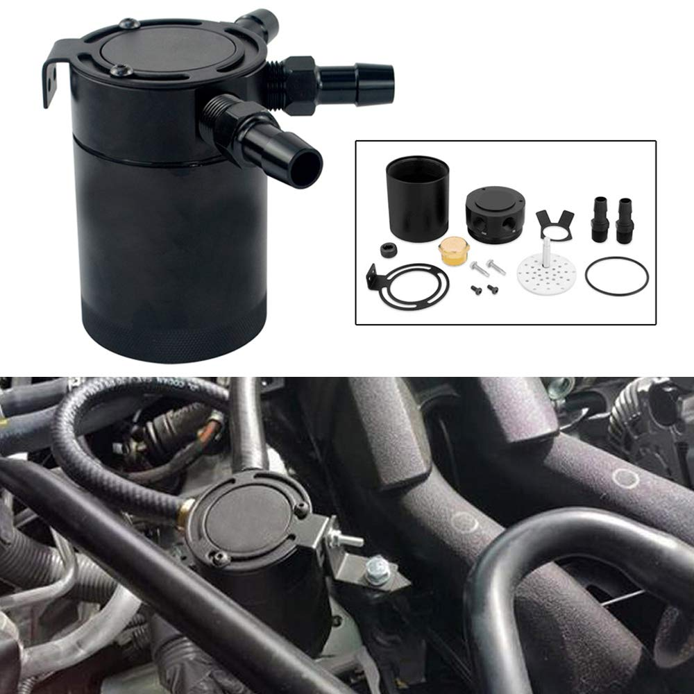 PQYRACING Baffled 3-Port Oil Catch Can Tank Air-Oil Separator 3/8'' Inlet&Outlet 160ML