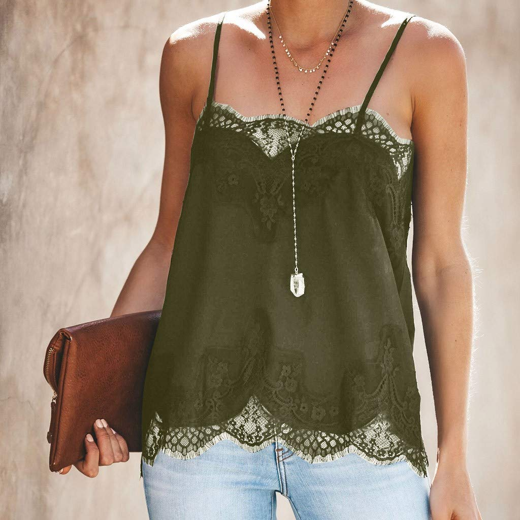 ODGear Women Sleeveless Lace Patchwork Plus Size Casual Summer Vest Tops Blouse Shirt Cami New